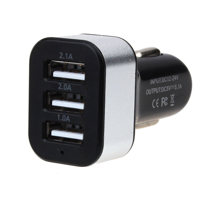 New Universal Vehicle 12V-24V 3Port USB(1A,2A,2.1A) DC Car Charger USB Power Adapter For Cellphone tablet PC Hgih Quanlity(China (Mainland))