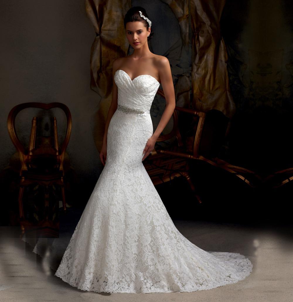 sweetheart neckline sleeveless lace mermaid wedding dresses