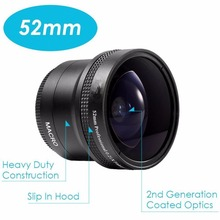 Buy New Photography 52mm 0.21X Fisheye Lens Macro Lens HD Canon Nikon Sony Pentax Pentax Olympus DSLR Camera for $26.97 in AliExpress store