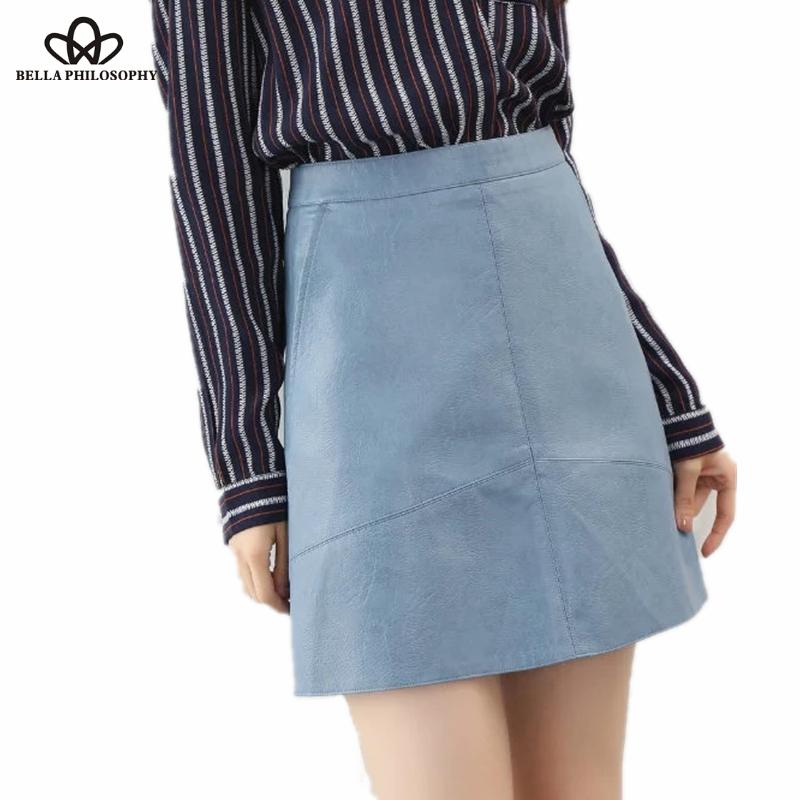 2016 autumn winter new high waist PU faux leather women skirt pink yellow black back blue zipper real photo u.s. size