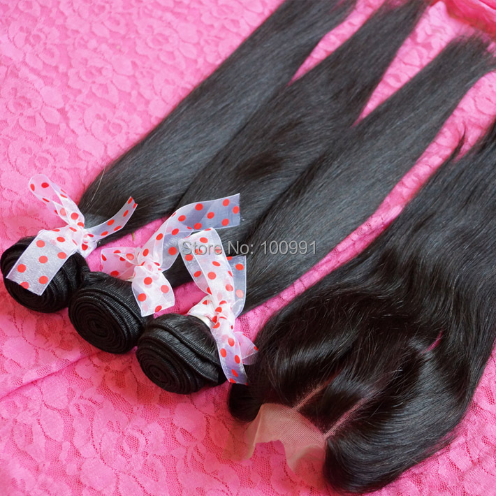 Bellami hair extension Queen Virgin Malaysian hair extension silk straight 3 bundles with 1pc lace closures natural color 1b#<br><br>Aliexpress
