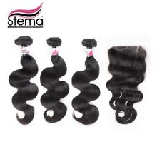 Free Shipping Stema Hair Unprocessed 100% Brazilian Virgin Hair Body Wave 3pcs Hair Weft With 1pc Lace Closure Hair Extension(China (Mainland))
