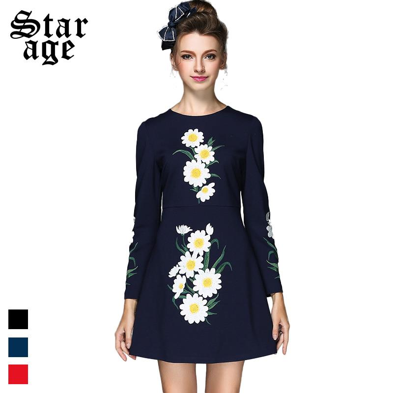 S-5XL Elegant Women Embroidery Dress 2016 Spring Autumn Long Sleeve Shor Dress Ladies Knee-Length Fashion Wear Q117(China (Mainland))