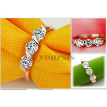 Wholesale Free Shipping 18K Gold Plated Wedding Rings Use Triple Austria Crystal 0 5Ct Simulation of