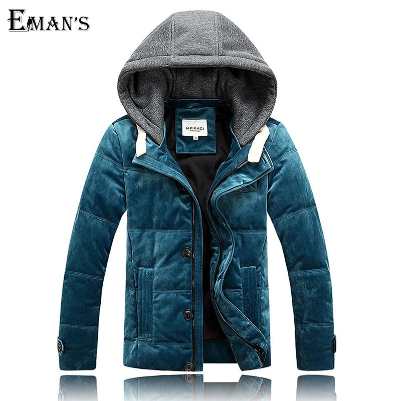 Velvet Winter Coat Men Warm Down Jackets Size M 2XL Fashion Slim Fit Mens Casual Outdoor