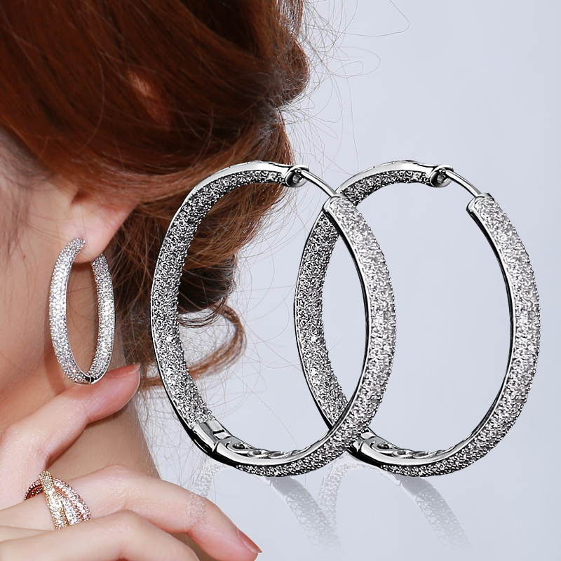 top quality hoop earrings real gold plated with white cz