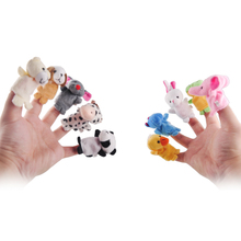 10pcs Five Animal Finger Puppet Plush Toy Cartoon Biological Child Baby Doll Kids Educational Hand Finger Toys For Children(China (Mainland))