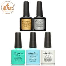 5Pcs/lot Sapphire 1 Base Coat + 1 Top Coat + 3 Colors Nail Gel Fashion UV Gel Polish 7.3 ML Soak Off Nail Gel Polish 159 colors(China (Mainland))
