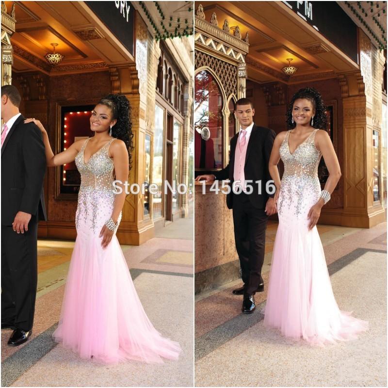 PRD180 Latest style 2015 Sexy V neck Heavy beaded Tulle New Years eve dresses vestido de formatura mermaid prom dress(China (Mainland))