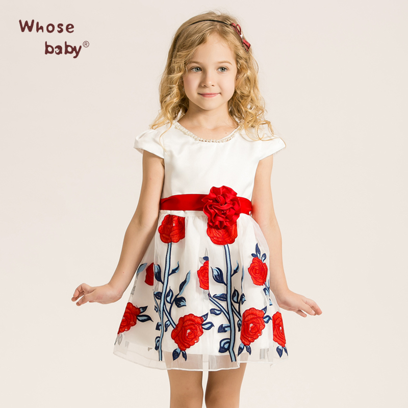 Floral Short Dresses Cute O-neck Regular Cotton A-Line Sashes Knee-Length Guangdong Lace Satin Summer 2016 Dresses(China (Mainland))