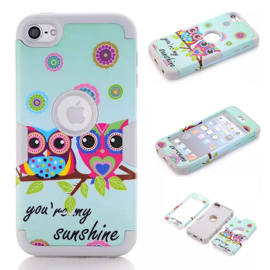 For iPod Touch 6th Generation Case Owl Pattern 3 Layers Hybrid Soft Silicone Hard Plastic Protective Case Cover for iPod Touch 6(China (Mainland))