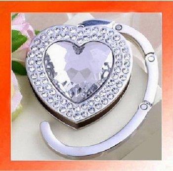 20PCS X Crystal Heart shape Folding Handbag Purse Hook Hanger Holder gift-White color. Wholesale and Retail. Free shipping.