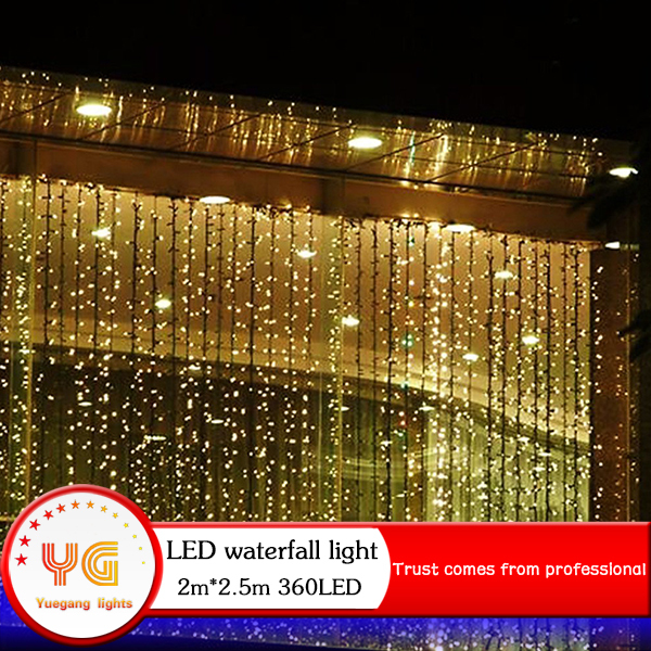 360LED 220V 2M*2.5M New Year Water Chasing Effect Curtain String Lights Christmas Garden Lamps Xmas Wedding Party Free Shipping(China (Mainland))