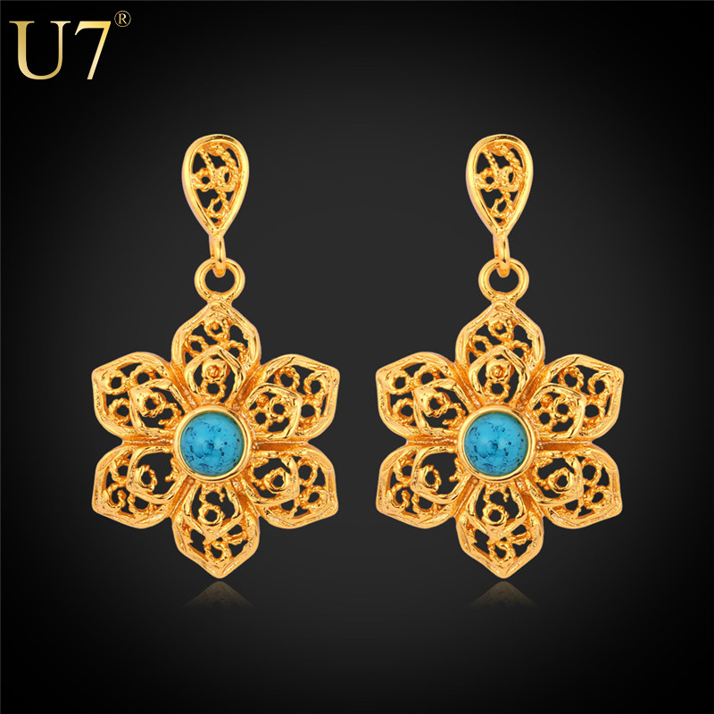 Vintage Lace Flower Earrings 2015 New 18K Real Gold Plated Turquoise Fashion Jewelry Wholesale Dangle Earrings For Women E472(China (Mainland))