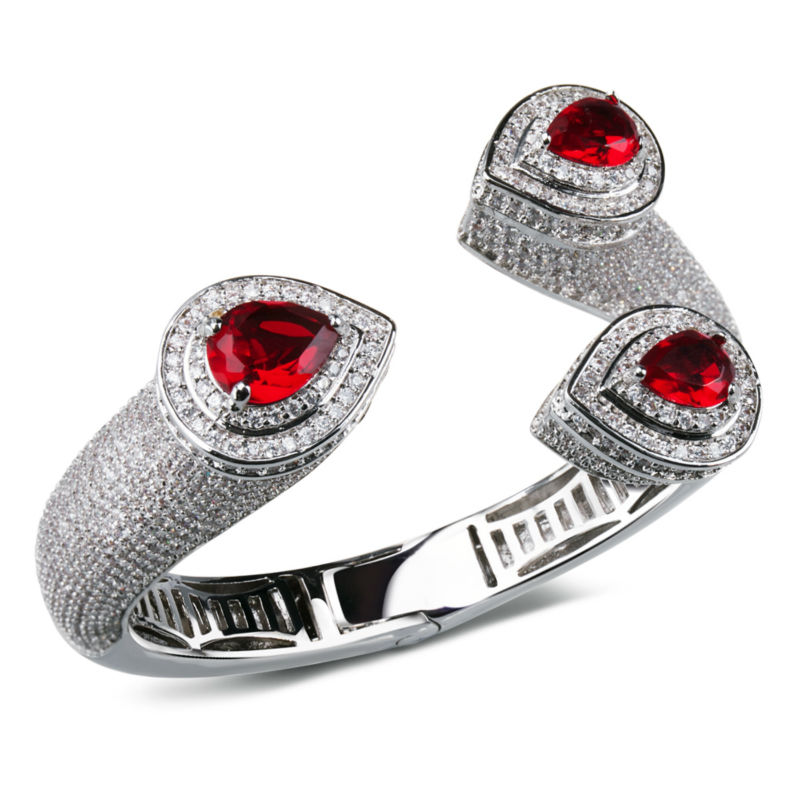 DC1989 Big Punk Cuff Bangle for Women Rhodium Plated Synthetic Cubic Zircon 4 Colors Main Stones Red Blue Green and Clear White(China (Mainland))