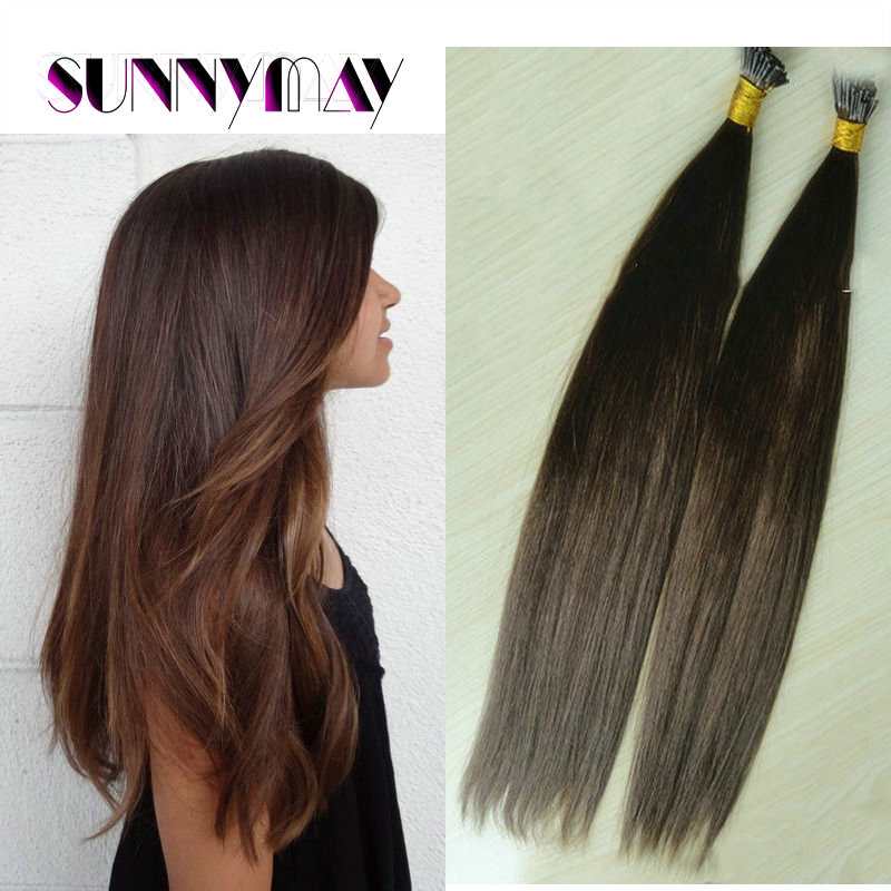 Natural looking beautiful 10-26 unprocessed #4 chocolate brown natural straight Brazilian virgin hair stick tip extensions<br><br>Aliexpress