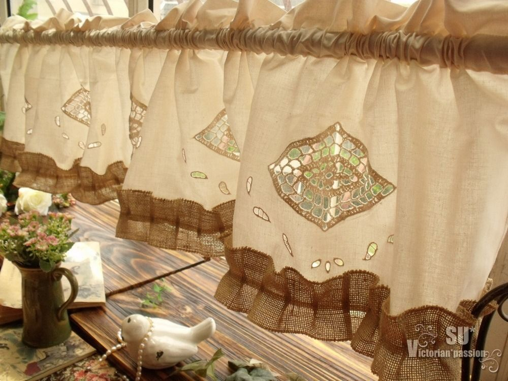 Rustic burlap window treatments - Whole Sale Shabby Chic Beige Farmhouse Rustic Burlap Window Valance