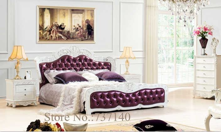 solid wood and leather bed bedroom furniture Baroque Bedroom Set luxury bedroom furniture sets buying agent wholesale price(China (Mainland))