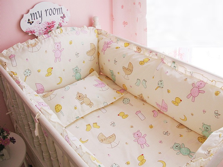 Promotion! 6PCS baby crib bedding set bedding bumper Crib baby bedding kit bed baby set (bumpers+sheet+pillow cover)<br><br>Aliexpress