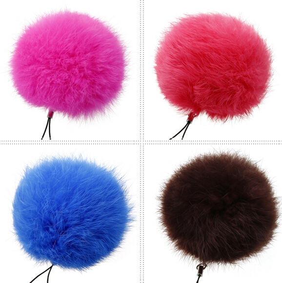 2015 Fashion fur ball keychain for lovers 8CM large Geniune Rabbit Fur Ball Key Chain leather accessories bag charm jewelry(China (Mainland))