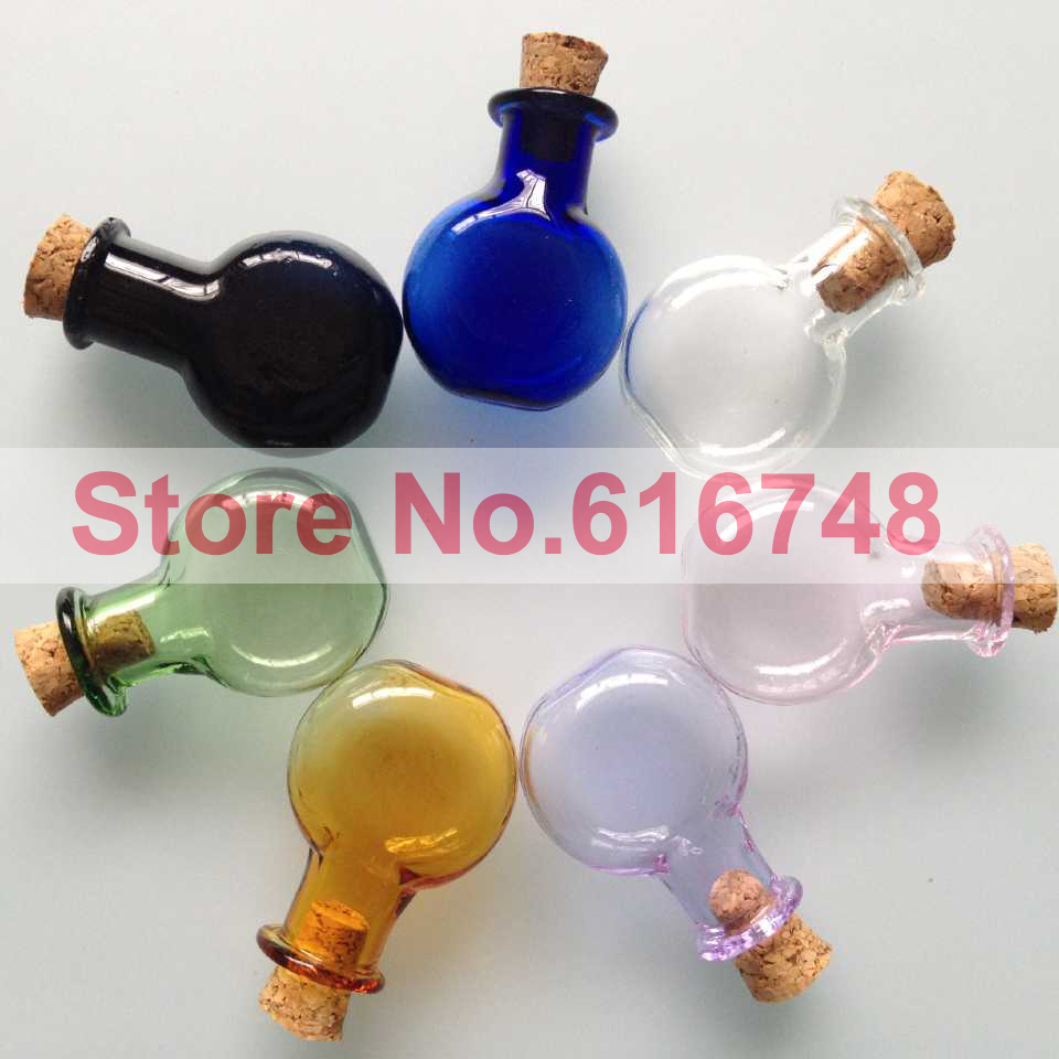 20pcs 2ml round flat shaped small glass bottles cork for Colored glass bottles with corks