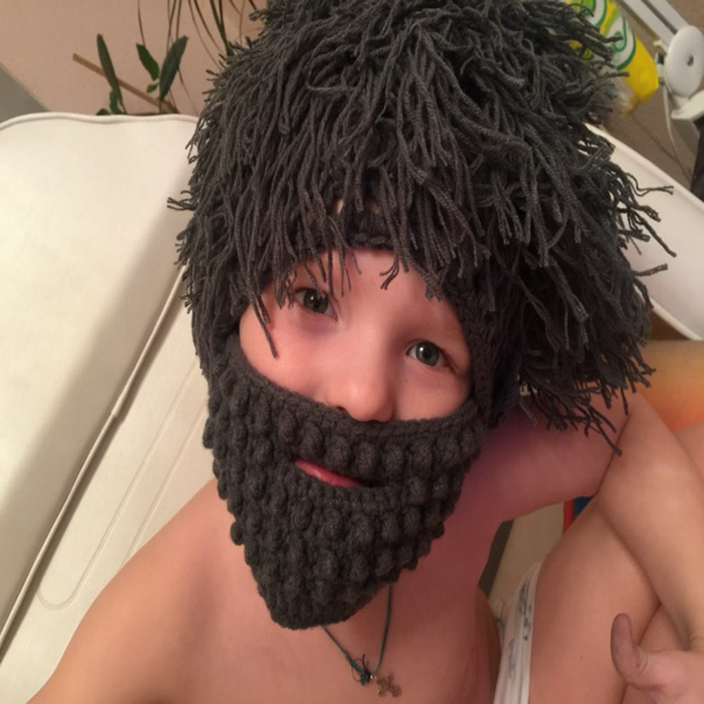 Boy Cap Gift Funny Party Mask Beanies Wig Beard Hats kids Mom Dad Children Toddler Handmade Hobo Mad Scientist Caveman Knit Warm(China (Mainland))