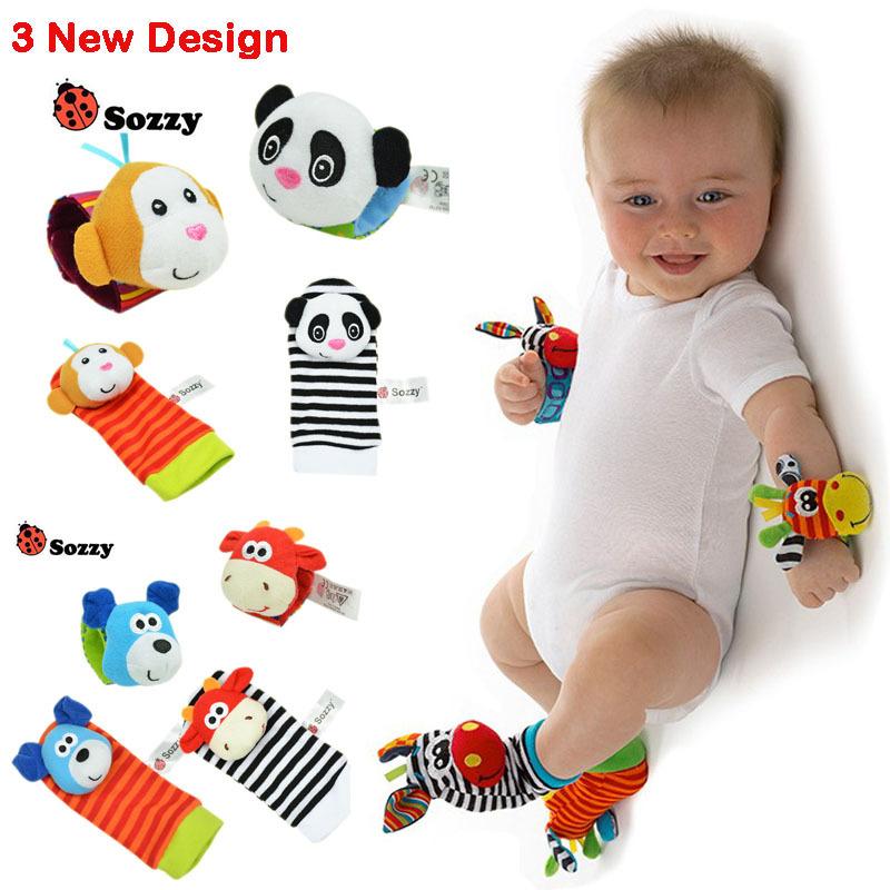 0~24 Months Newborn Baby Socks Animal Foot Socks Rattles Toys Developmental Soft Wrist Toys V20(China (Mainland))
