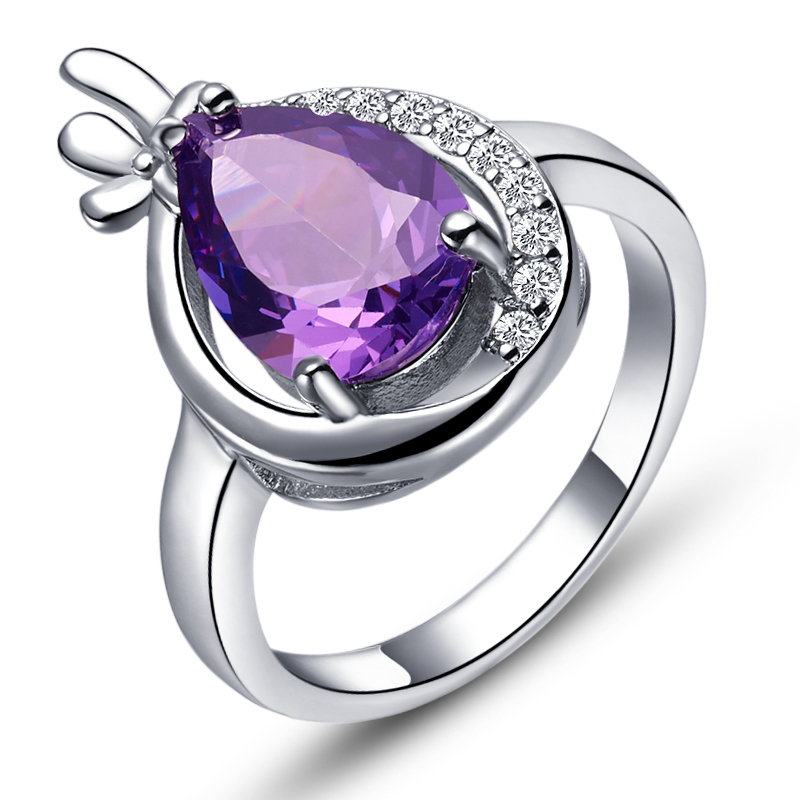 Cheap Chinese Jewellery Sterling Silver Jewelry for Girls Simulated Diamond Amethyst Trendy Celebrity Ring Joias Em Prata J414(China (Mainland))