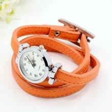 Moda PU Leather Wrap reloj pulseras, con una aleación de la cara del reloj y resultados de la aleación, platino de Metal de color, DarkOrange