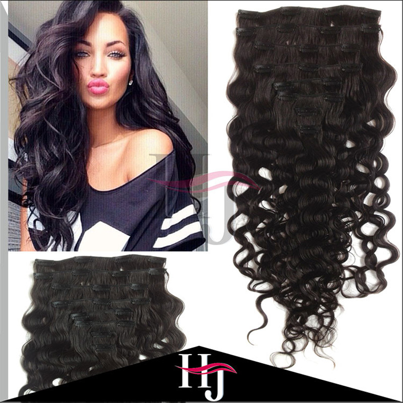 Hot Sale Body Wave 7A #1B 8pcs Clip In Brazilian Human Hair Brazilian Virgin Hair Clip In Hair Extensions For Black Women C101<br><br>Aliexpress