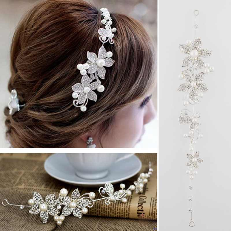 2015 Fashion Women Lady Sweet Crystal Rhinestone Fresh and natural Faux Pearl Flower Bridal Headband Headwear Hair Band Tiara(China (Mainland))