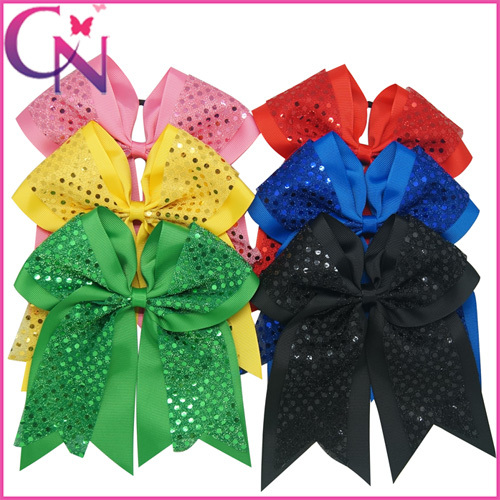"8"" Large Sequin Cheer Bow With Elastic Band Girls Sequins Cheerleading Hair Bows Girls Ponytail Holder 24pcs/lot CNHBW-14092401(China (Mainland))"