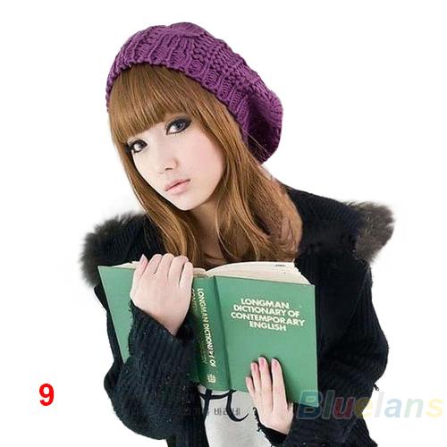 2013 новинка женская леди берет плетеный багги шапочка-крючком теплая зимняя шапка лыж Cap шерсти трикотажные оптовая продажа 01V7 3C5H