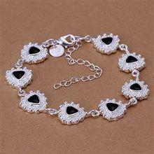 H264 925 delicate silver bracelet, 925 delicate silver fashion jewelry Black triangles drops bracelet /aixajaea bbdajska