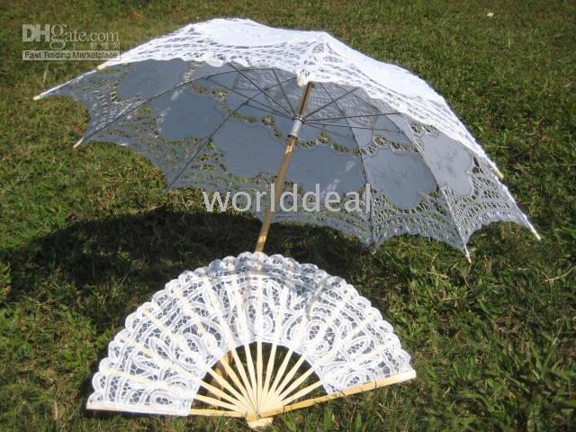 Vitoriana handmade de madeira rendas guarda sol + fã guarda-chuva fotografia de casamento acessórios H106WS(China (Mainland))