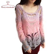 Gradients Color Thin Chiffon Blouse Gauze Round Collar Hollow-Out Long 2016 Summer Women Shirts Lace Blusas Femininas