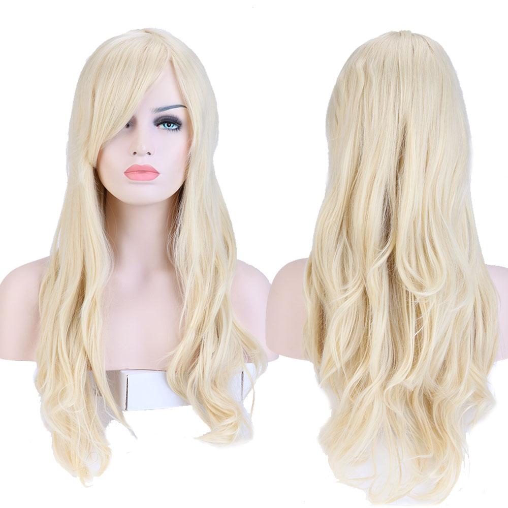 "Lady Elegant Full Wig 28"" Long Curly Bleach Blonde Hair Heat Resistant Kanekalon Hair Wigs TW079(China (Mainland))"