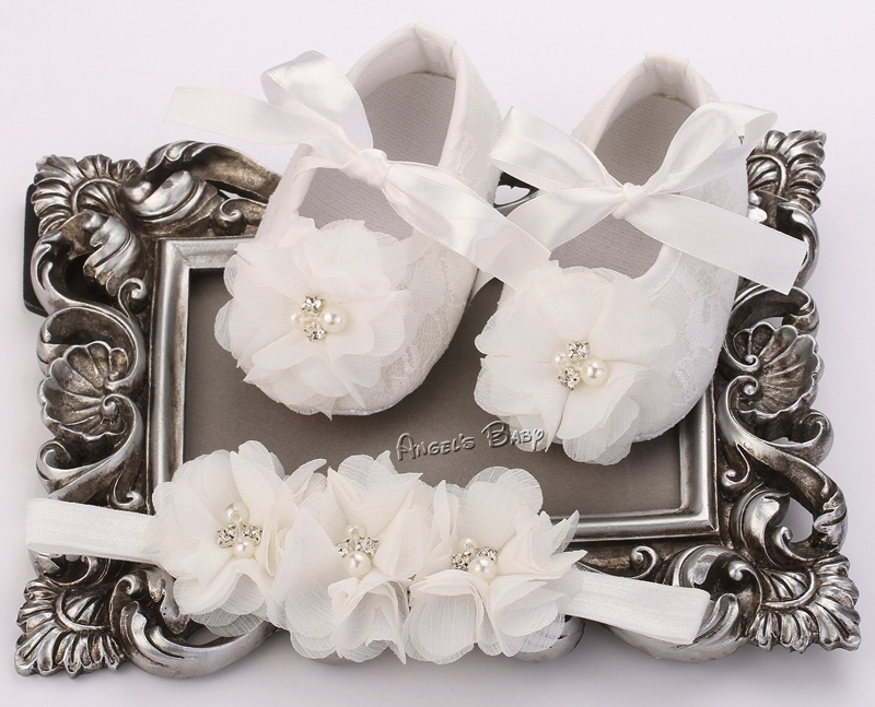 Ivory Flower Girl Shoe Toddler Headband,Infant Christening Baby Moccasins,Newborn Baby Girl Baptismal Set,#2B1932(China (Mainland))