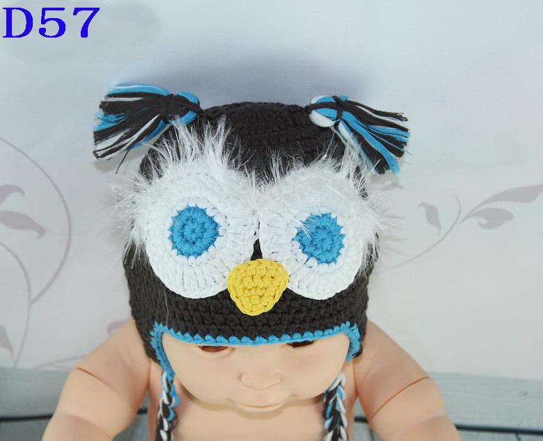 Free Post Crochet Owl Baby Hat,Knit Crochet Blue Owl Baby Boy Girl Animal Cap,Infant Halloween Costume,Toddler Photography Prop(China (Mainland))