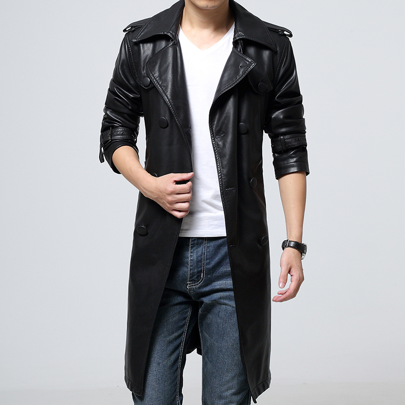 New 2015 sheepskin leather jacket men long leather overcoat veste cuir homme double breasted jaqueta de couro masculina /PY25