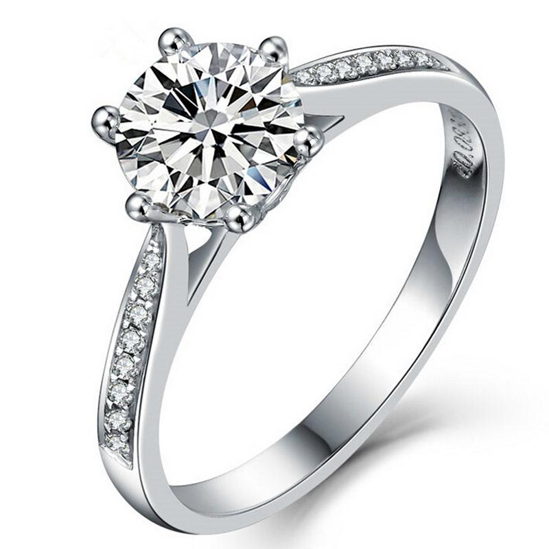 Size 4-10 Brand NEw 2CT Round cut wholesale 925 silver White sapphire Zirconia Simulated Diamond Wedding Engagement Ring gift(China (Mainland))