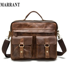 MARRANT Crazy Horse Genuine Leather Bag Casual Men Handbags Men Crossbody Bags Men's Travel Bag Tote Laptop Briefcases men bags(China (Mainland))