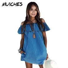 2016 Women dress New Fashion Designer Loose Slash neck Jeans Dresses Summer Casual Sleeveless ladies elegant Denim Dresses(China (Mainland))