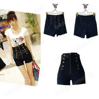 New Women's Double Breasted Zipper Vintage High Waist Shorts Jeans(China (Mainland))