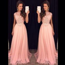 New Arrival Lace Top Long Prom Dresses Vestido De Festa Longo Floor Length Chiffon Evening Dress Party 2015 Fast Shipping Hot(China (Mainland))