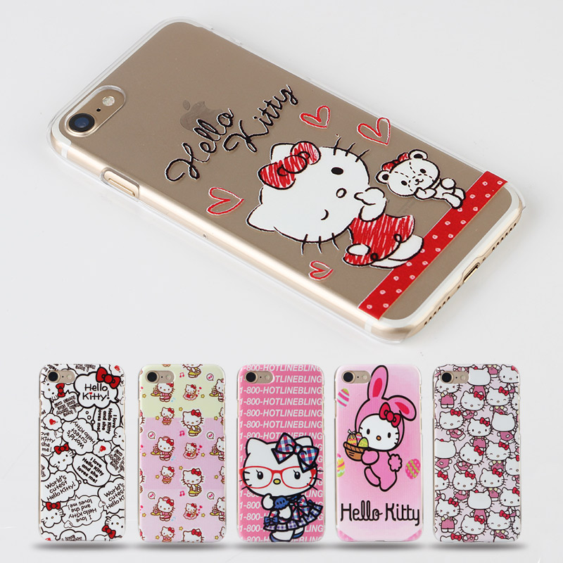 Hello Kitty Capinhas Para For Iphone 6s Case Transparent Hard PC Phone Bag Cover Cases For Iphone 6S plus 6 Plus 5s 7 7plus Case(China (Mainland))