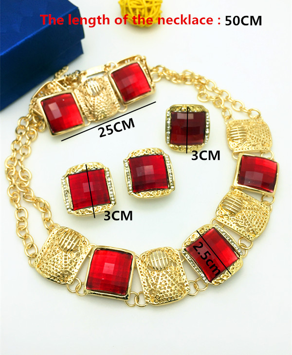 2016 Hot Sale Big Costume Dubai Jewelry Set 24K Gold Plated Top Gorgeous Nigerian Wedding African Beads Jewelry Set For Women(China (Mainland))