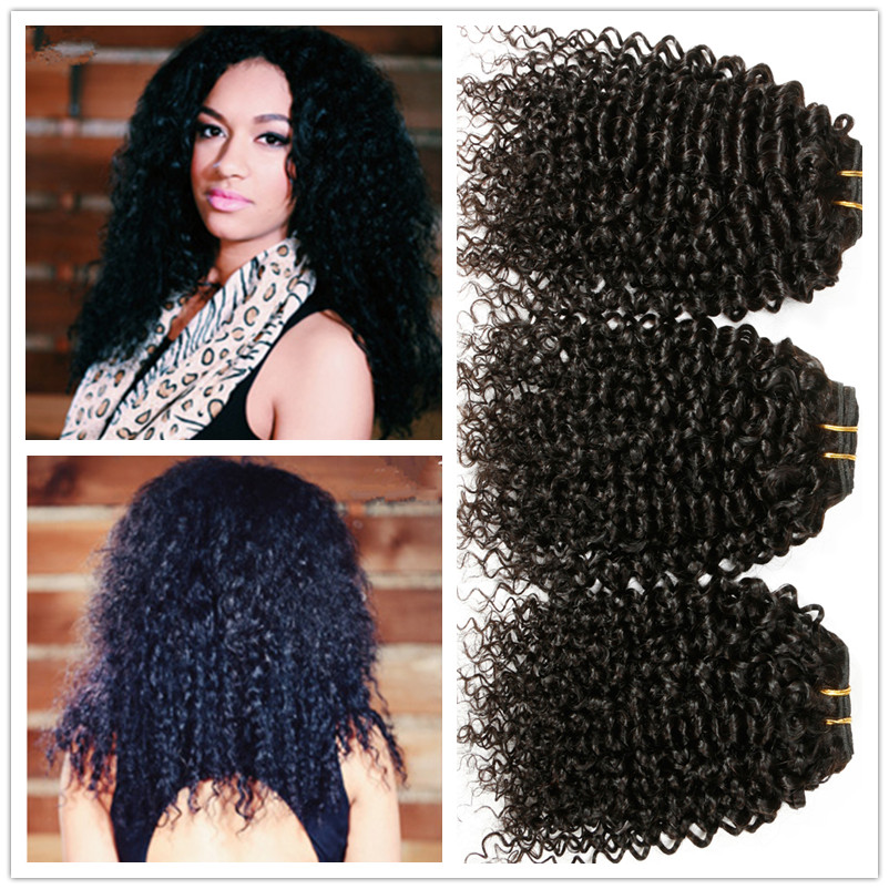 Derun Hair Indian Curly Virgin Hair 3PCS/LOT 1B Fabwigs Virgin Indian Curly Hair Afro Kinky Curly Indian Remy Human Hair Bundles