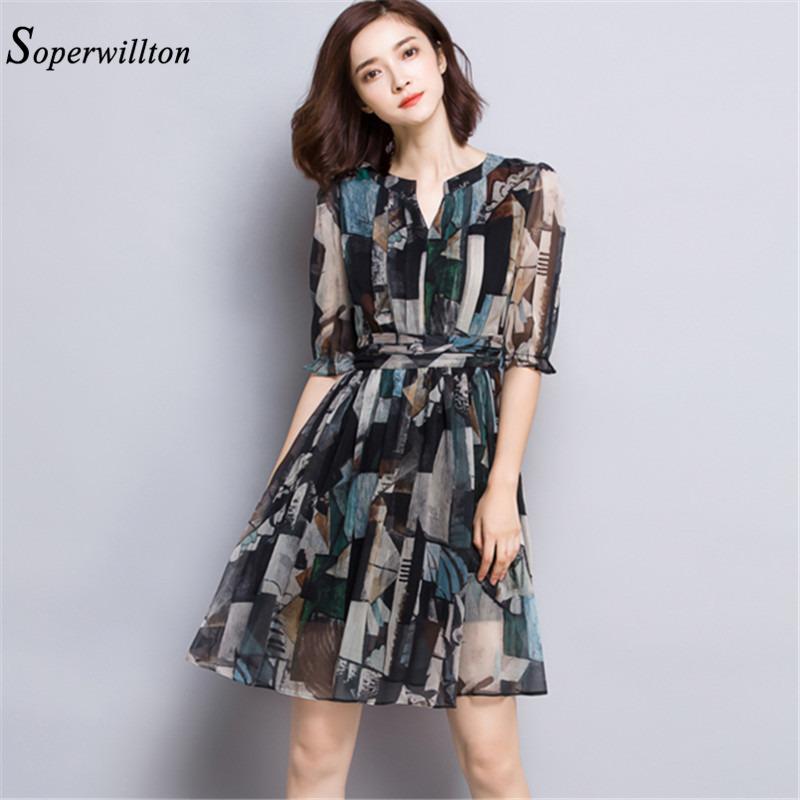 Soperwillton 2016 Summer New Short Chiffon Dress Women Casual Vintage Dresses Woman Short Sleeve Plus Size Elegant Dress #C805(China (Mainland))