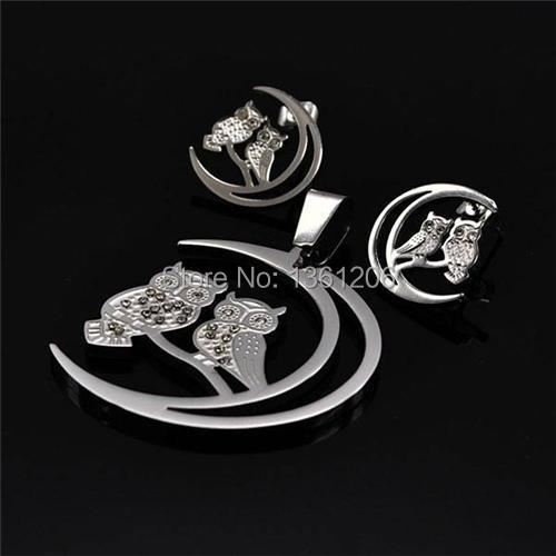 SS69 Stainless Steel Jewlery Moon Couple OWL Crystal Silver Plated earring+pendant necklace accessory,free shipping, wholesale(China (Mainland))